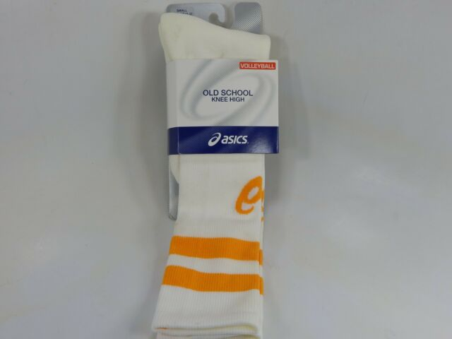 55251ee0de5 Asics Old School Knee High Volleyball Socks White Gold S Small Womens Size  6-