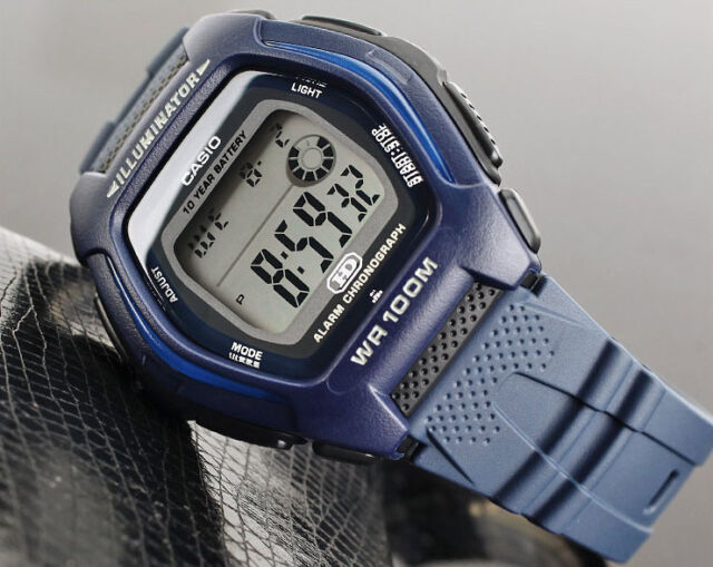 Casio HDD-600C-2A Mens Digital 100M WR Watch Blue Sport 10 Year Battery New