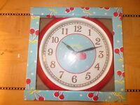 New light blue wall clock red cherries retro round 1950's style cherry
