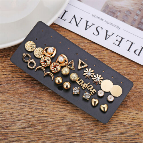 Lots 14 Pairs Fashion Rhinestone Crystal Pearl Earrings Women Ear Stud Jewelry