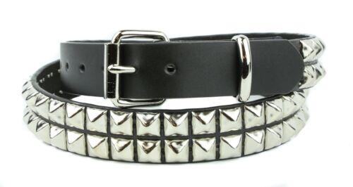 Studded Belt Double Row Punk Gothic Genuine Leather Heavy Duty Premium Usa Made