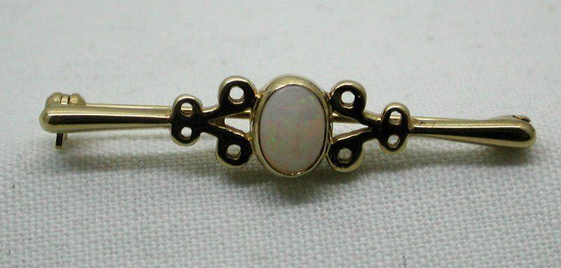 Pretty oro oro oro 9 CARATI e opale BAR Spilla 34a1b1