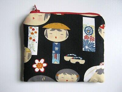 100% Vero Kokeshi Doll Handmade Portamonete Custodia Imbottito Con Cerniera-