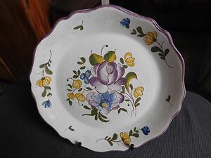 Style; In Plate Faience Hadancourt Decor Flower Copy Antique Style The 1960/70 Fashionable