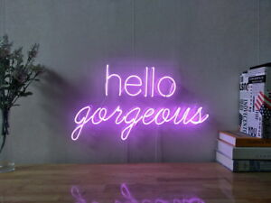 Strange Details About New Hello Gorgeous Neon Sign For Bedroom Wall Decor Artwork Light With Dimmer Home Interior And Landscaping Eliaenasavecom