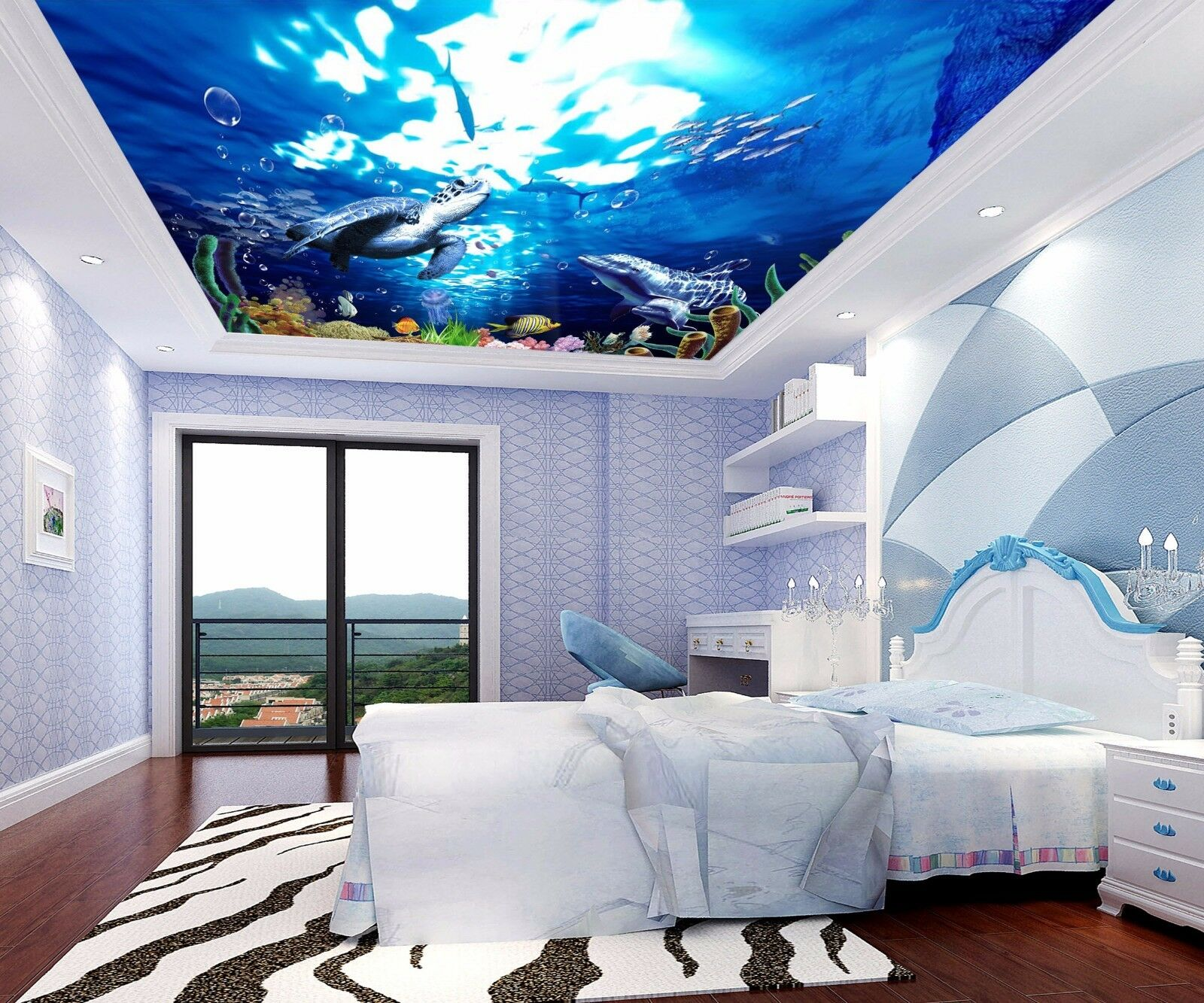 3D Dolphin Turtle 84 Ceiling WallPaper Murals Wall Print Decal Deco AJ WALLPAPER