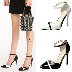 3358e7b0eed Ladies Ankle Strap High Heel Stiletto Sandals Women Grace Point-Toe ...