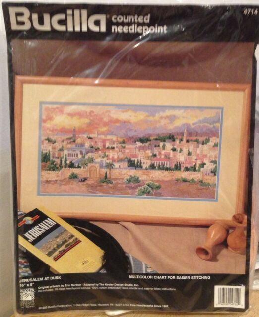 "Bucilla Counted Needlepoint Kit # 4714 ""Jerusalem at Dusk""   NIP  1995"