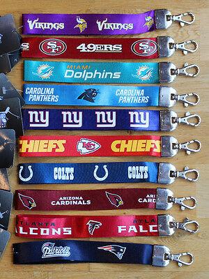 NFL Wristlet Short Lanyard Keychain TEAM COLOR ( ALL TEAMS ) Official Licensed