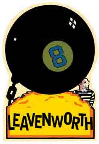 LEAVENWORTH    Prison     Vintage 1950/'s-Style  Travel Decal//Sticker