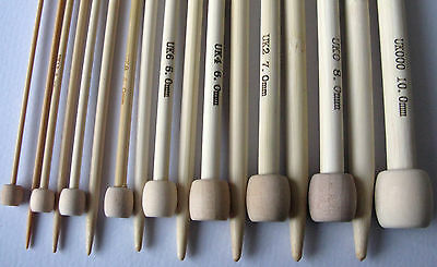 """13 Size Set Bamboo Knitting Needles SP 9/"""" US 0-11"""
