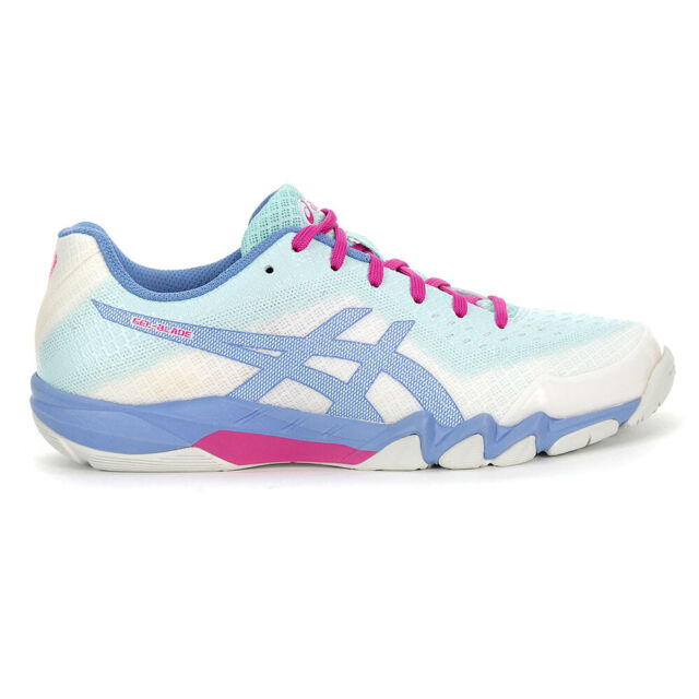 ASICS Women's Gel-Blade 6 White/Icey Morning Indoor Court Shoes R753N.117  NEW