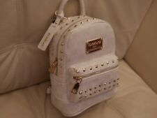 NEWWT BEBE JETT MONOGRAM BACKPACK Hand Bag PURSE WHITE LEATHER STUDS WBE07-277W