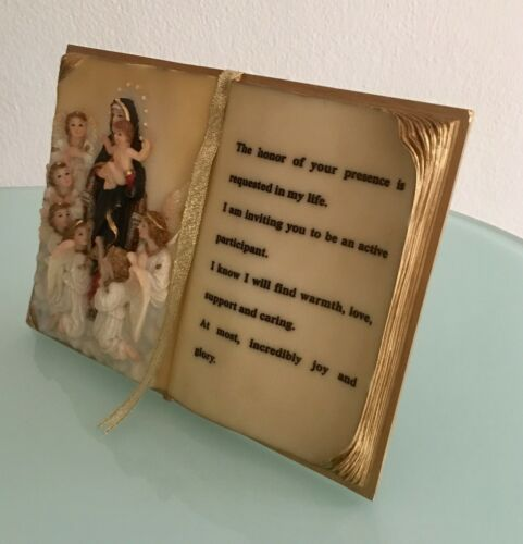 New Resin Antique Book Plaque Mary and Jesus