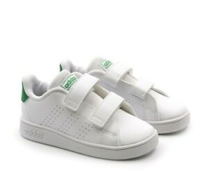 Scarpe Adidas Advantage Bambini Scarpe Sportive a Strappo Unisex Bianche Verdi