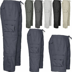 Mens Elasticated 3 in 1 Summer Trousers Cargo Combat Lightweight Pant Cotton