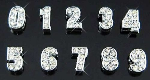 10pcs 8mm//10mm 0-9 Full Rhinestone Slide Number Charms Fit Pet Collar Wristband