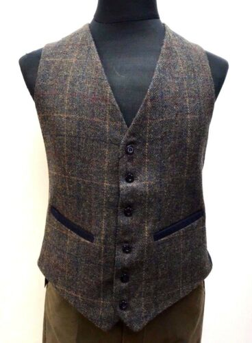Country Tweed Dress Waistcoat Vest Green with Red Blue Brown Check