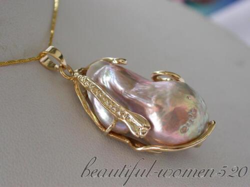 z4459 Huge 16mmx30mm baroque lavender keshi reborn pearl chain pendant