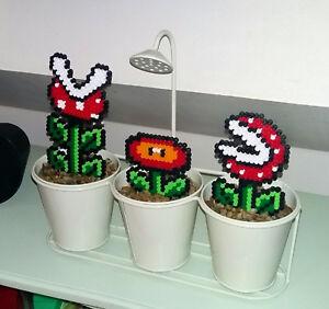 Détails Sur 1 Pixel Art Mario Fleur Plantes Creations Perles à Repasser Hama Sprite