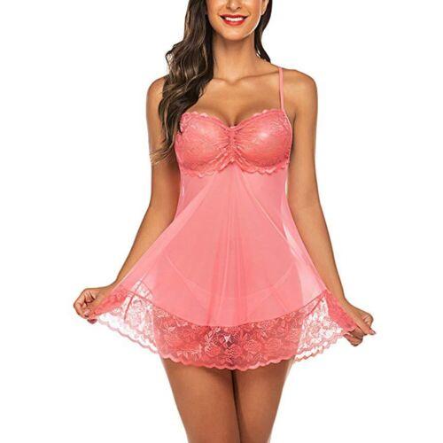 Women Sexy-Lingerie Babydoll Underwear Lace Sleepwear Boudoir Dress G-String Set