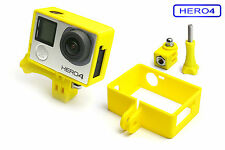 Frame + Tripod Mount f. GoPro HERO 4 Black Rahmen Zubehör Stativ Adapter Yellow