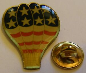 HOT-AIR-BALLOON-US-FLAG-COLORS-vintage-Pin-Badge