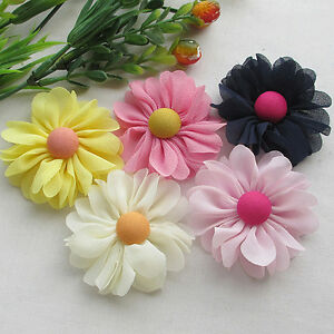 New Organza Ribbon Chiffon Flowers Bows Sewing Wedding Decoration 5/20pcs Upick
