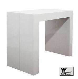 Tavolo-consolle-allungabile-3-metri-laccato-bianco-lucido-o-opaco-e-nero-lucido