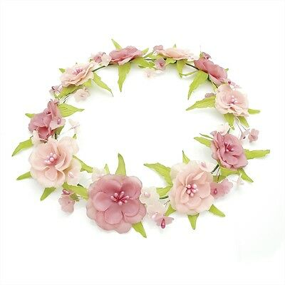 Pink Tones Flower Garland Crown Headband Festival Forehead Hair Band Accessories
