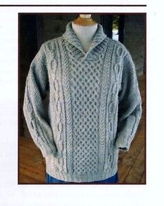 INTRICATE CABLED HUSBAND/'S SWEATER to KNIT WITH DK.//WORSTED WT YARN  JANET SZABO
