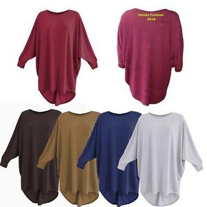 Women-Plain-Batwing-Oversized-Long-Sleeve-Ladies-Baggy-Sweater-Jumper-Top-Blouse