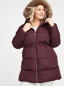 OLD NAVY WOMEN'S 335729 PLUS SIZE HOODED FROST FREE LONG PUFFER COAT NWT 3X 4X