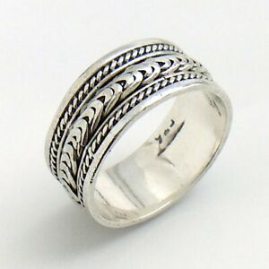 Womens-Ladies-Vintage-Band-Unmarked-Sterling-Silver-Size-7-75-US-Ring-4-7g-I983