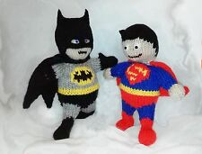 SUPERHERO TOYS, SUPERMAN AND BATMAN KNITTING PATTERN , CHILD SAFE