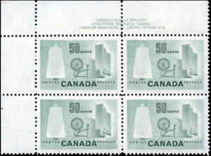 Canada-Mint-NH-VF-BLOCK-Scott-334-50c-1953-Textile-Stamps