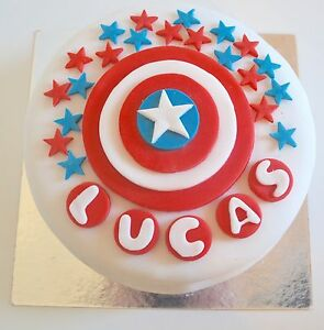 Captain America Shield Cake Toppers Edible Personalised Name Icing