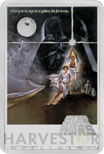 MINTAGE 1,977 2020 STAR WARS A NEW HOPE POSTER COIN SILVER COIN 1 OZ