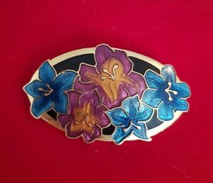 Vintage-Crown-amp-Fish-Oval-Cloisonne-Flower-Brooch-Pin-jewellery-jewelry-floral