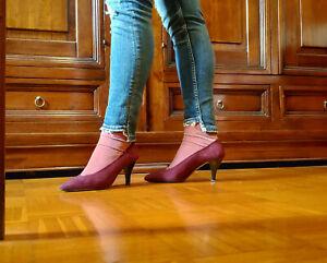Dettagli su Scarpe Cinti decolleté, tacco, camoscio, rosso borgogna, donna, 38