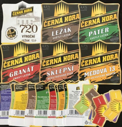 CZE050 6main+10back+8neck CZECH Cerna Hora Lot of 24beer labels