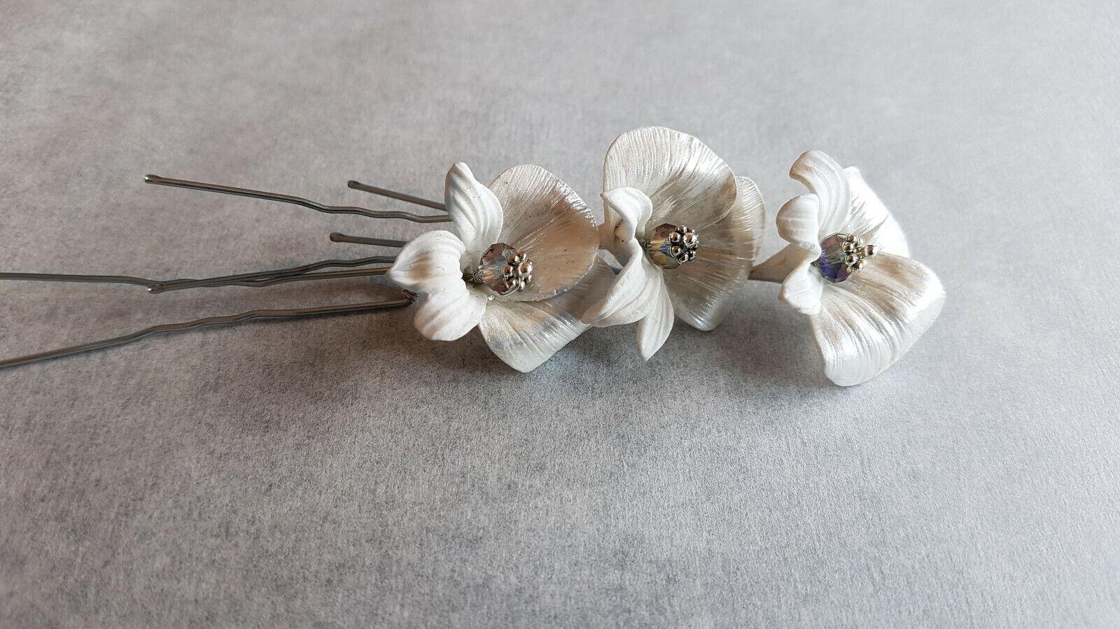 Horquillas flor de Lis Flores Porcelana para peinado Tocado Novia bodas