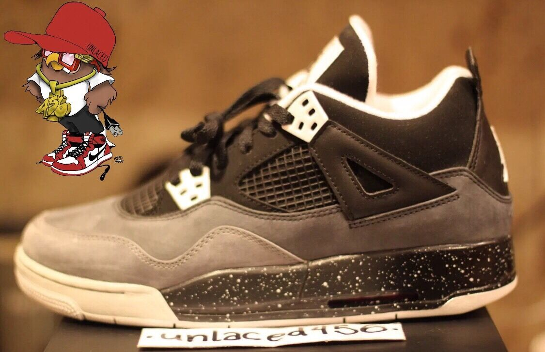 AIR JORDAN 4 RETRO GS IV FEAR PACK OREO COOL GREY CEMENT 626969-030 SIZE 7y DS