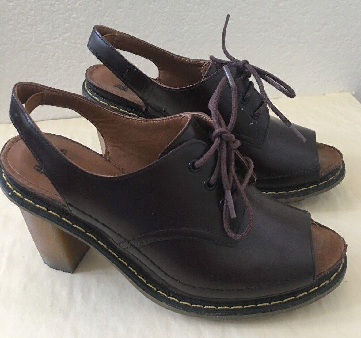Dr. Martens Womens Tara shoes Pumps Heels Peep Toe Size 6 Chocolate Brown