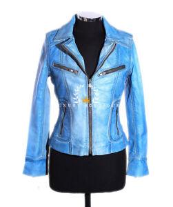 Ladies Blue Designer Waxed Fashion Lambskin Stonewashed Leather Jacket Rachel q16wBpx6