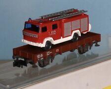 DB AGNiederbordwagen beladen mit Wiking TLF Spur N Minitrix 15232 Feuerwehr