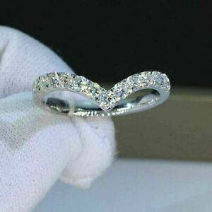 Excellent-Round-Shape-1-00-Ct-Diamond-Eternity-Wedding-Band-Solid-14k-White-Gold