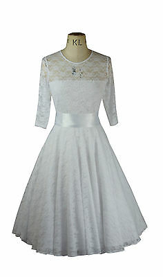 Angemessen Baylis & Knight White Lace Circle Sweetheart Flared Dress Wedding Gown 50s Retro Feine Verarbeitung