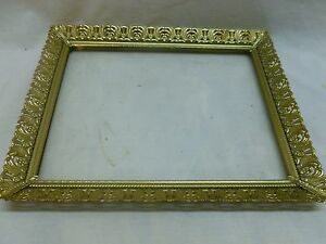 Vtg-Ornate-Gold-Tone-Metal-Filigree-8-x10-Stand-Alone-Picture-Frame