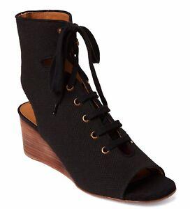Details about Chloe Black Canvas Gladiator Wedge Sandals.